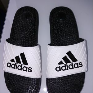 {Adidas} black and white slides almost new